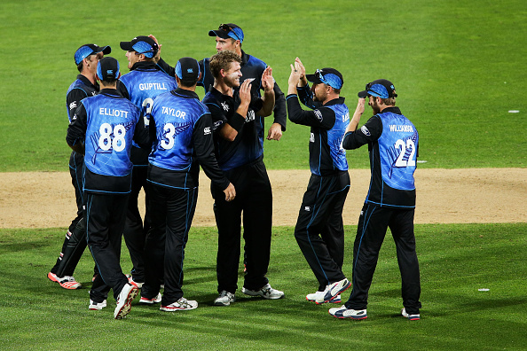 New Zealand celebrate after taking a West Indian wicket during their dominant victory in Wellington ©Getty Images