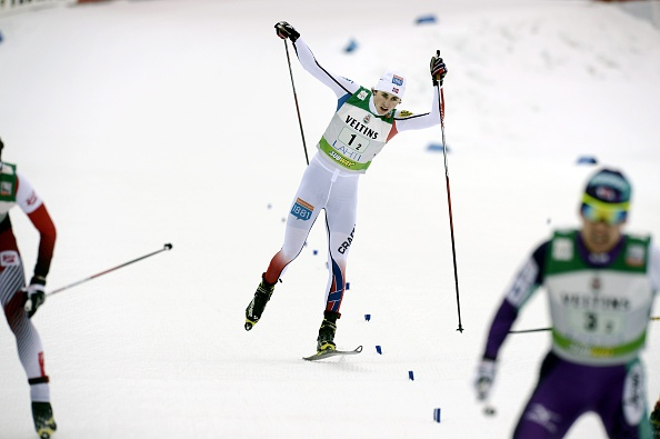 Norways Jarl Magnus Riiber finished with one ski after a dramatic crash but was ultimately disqualified ©AFP/Getty Images