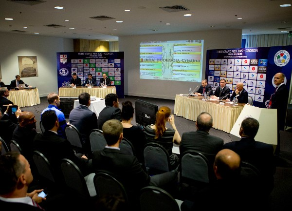Officials in Tbilisi announce the draw for the second IJF Grand Prix of the season ©IJF