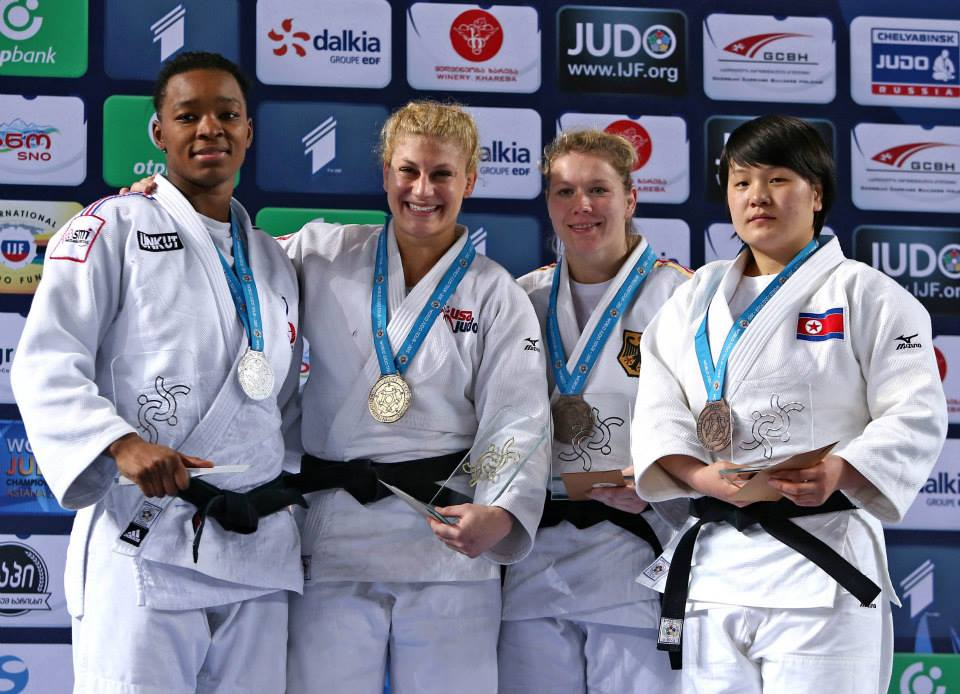 Olympic champion Kayla Harrison (second left) continued her dominance of the women's under 78kg category by winning gold in Tbilisi ©IJF/Facebook