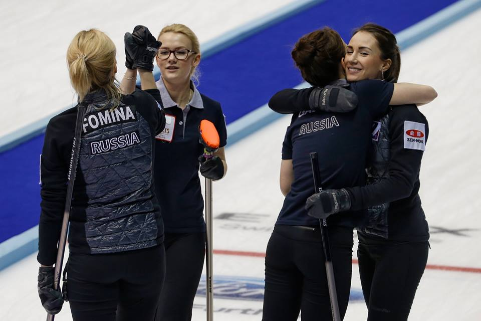 Russia secured a place in the playoffs after a strong performance at the World Women's Curling Championships ©World Curling Federation/Richard Gray