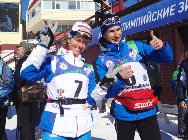 Russian duo Anna Fedurova and Vladmir Mayorov both claimed skiathlon gold on the opening day of the Deaflympics ©Ugra 2015