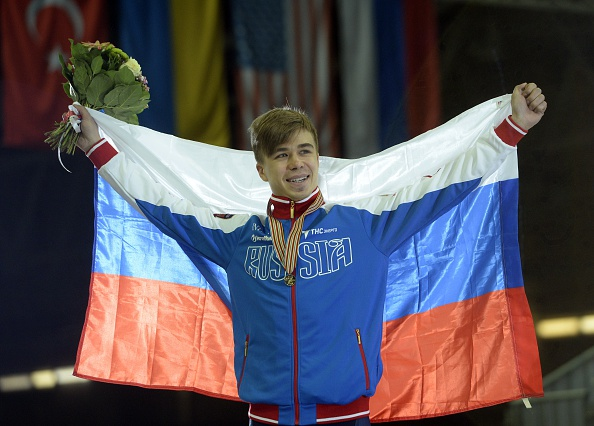Semen Elistratov won the men's 1,500m gold medal at the World Short Track Speed Skating Championships in Moscow ©Getty Images