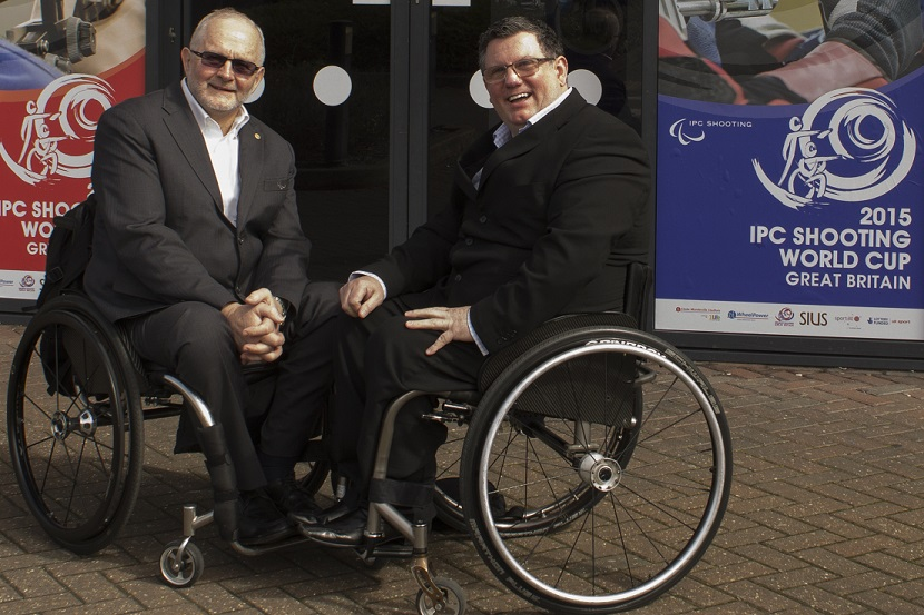 Sir Phillip Craven met former basketball teammate Martin McElhatton at the IPC Shooting World Cup event ©Wheelpower