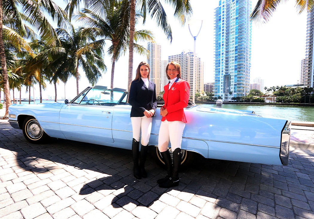 Some of the biggest names in equestrian sport, including Hannah Selleck and Beezie Madden, helped launch the Longines FEI World Cup Jumping North American League in Miami today ©FEI