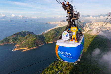 The Rio 2016 mascot Vinicius marked 500 days to go until the Games by taking in the beauty of the city from the top of the Sugar Loaf Mountain cable car ©Rio 2016