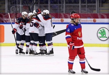 The United States sealed their semi-final berth at the IIHF Women's World Championships with a commanding 9-2 win over Russia in Malmo ©IIHF