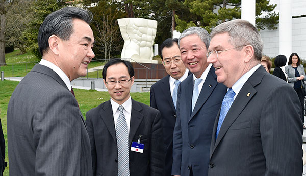 Thomas Bach met with global officials while negotiations on Iran's nuclear programme are being held in Lausanne ©IOC