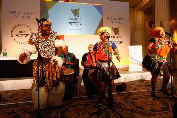 Traditional South African dancing got the bid launch underway ©Getty Images