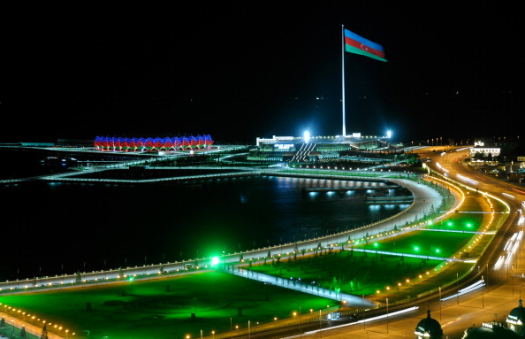 The national flag flies over Baku, host to this summer's inaugural European Games ©Getty Images