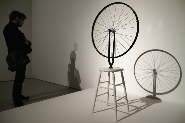 Marcel Duchamp's Bicycle Wheel on exhibition in London's Barbican in 2013. Professor Bacharach likes to point industrialists at it and ask 'How did he get here?' Presumably not by bike...©Getty Images