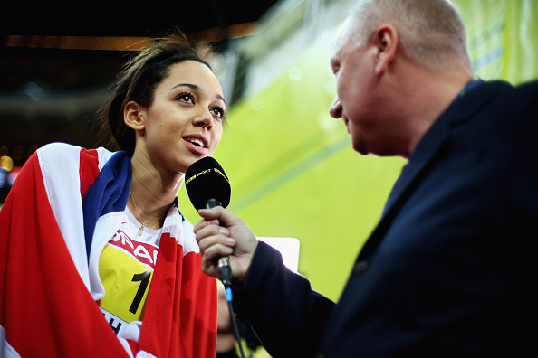 Britain's Katarina Johnson-Thompson talks to television after her pentathlon win at the European Athletics Indoor Championships in Prague ©Getty Images