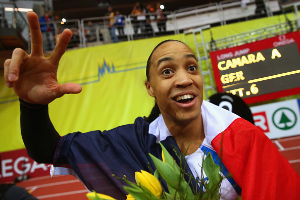 Pascal Martinot-Lagarde celebrates after leading a French clean sweep in the men's 60m hurdles in Prague's 02 Arena ©Getty Images