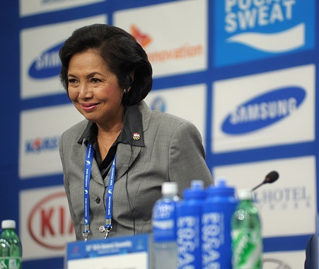 Indonesian Olympic Committee President Rita Subowo has been awarded by the local radio station ©AFP/Getty Images