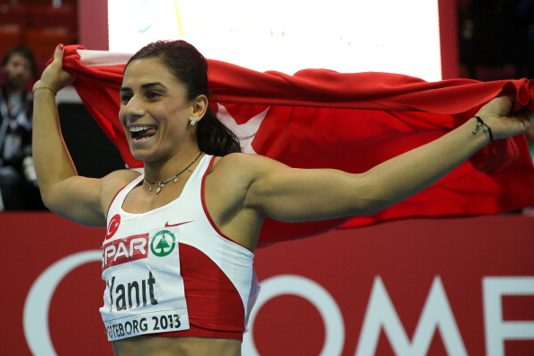 Turkey's Nevin Yanit, pictured celebrating victory in the 100m hurdles at the 2012 European Athletics Championships, has had her doping ban increased from two to three years ©AFP/Getty Images