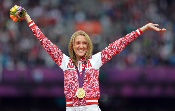 Russia's Yuliya Zaripova pictured after winning the London 2012 3000m Steeplechase title - which she has now forfeited folowing a doping ban that is subject to a further IAAF appeal ©AFP/Getty Images