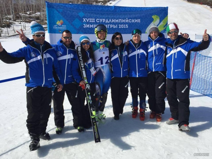 Skiers pose following today's super combined competition ©Ugra 2015