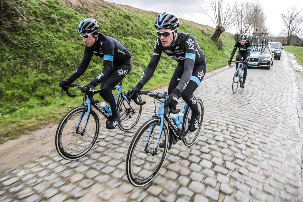 """Team Sky testing out the Pinarello K8-S, a bike hailed a """"game-changer"""" by Sir Bradley Wiggins ©Team Sky"""