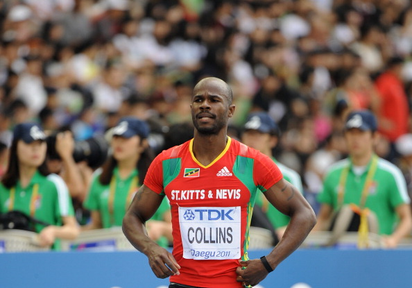 Kim Collins, the former world 100m champion from St Kitts and Nevis, who says one of the secrets of maintaining an international career over more than 20 years has been not working too hard in training. No fooling ©AFP/Getty Images