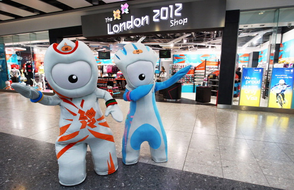 Wenlock and Mandeville outside the London 2012 shop