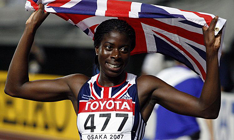 Christine Ohuruogu with British flag in Osaka 2007