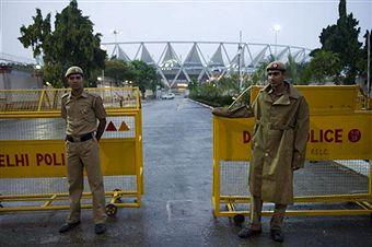 Delhi Police guarding stadium