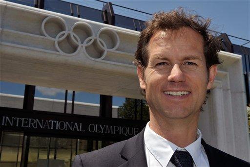 Edgar Grospiron outside Lausanne IOC