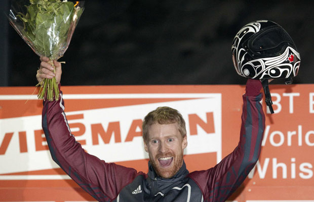Jon_Montgomery_celebrates_World_Cup_victory_Whistler_November_2010