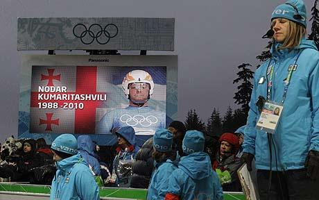 Nodar Kumaritashivvli tribute at luge course