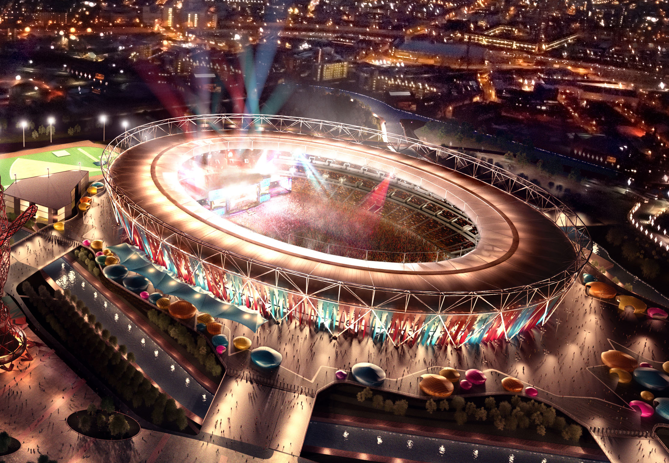Olympic Stadium in West Ham concert mode