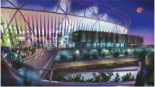 Olympic Stadium lit up with walkway(1)